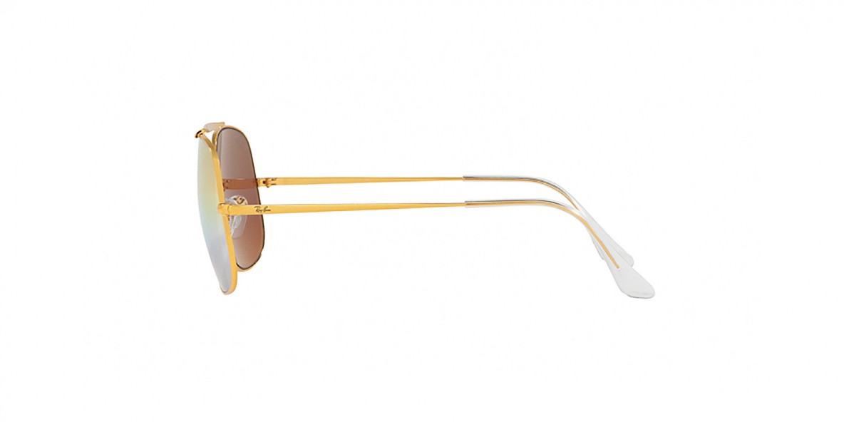 Ray-Ban Sunglass 3561S 9001I1 57 عینک آفتابی ریبن مدل ژنرال 3561 مناسب آقایان با عدسی سبز و آیینه ای سایه روشن طلایی صورتی