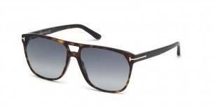 Tom Ford FT0679 52W 59 عینک آفتابی تام فورد 0679 مربعی 59 میلی متری عدسی آبی و فریم کائوچو هاوانا  عینک نور