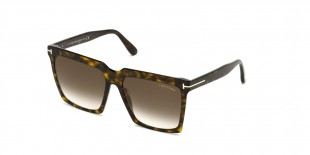 Tom Ford FT0764 52K عینک آفتابی تام فورد 0764 مربعی 58 میلی متری عدسی قهوه ای و فریم کائوچو هاوانا  عینک نور