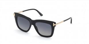 TomFord Sunglass FT0822 01D عینک آفتابی تام فورد 0822 مربعی 52 میلی متری عدسی دودی و فریم کائوچو مشکی  عینک نور
