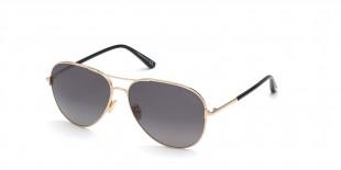 TomFord Sunglass FT0823 28D عینک آفتابی تام فورد 0823 خلبانی 61 میلی متری عدسی دودی و فریم فلزی طلایی  عینک نور
