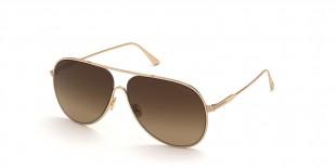 Tom Ford Sunglass FT0824 28F عینک آفتابی تام فورد 0824 خلبانی 62 میلی متری عدسی قهوه ای و فریم فلزی طلایی  عینک نور