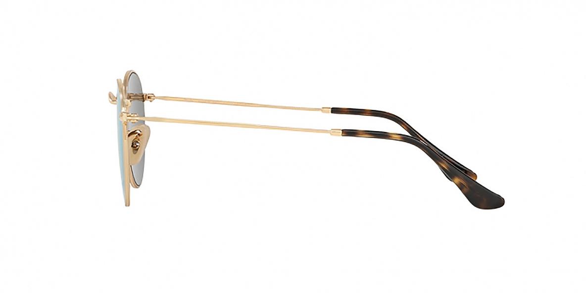 RayBan 3447N 00019O 50عینک آفتابی گرد ریبن مدل 3447 فلزی طلایی با عدسی آبی آیینه ای مناسب خانم ها و آقایان