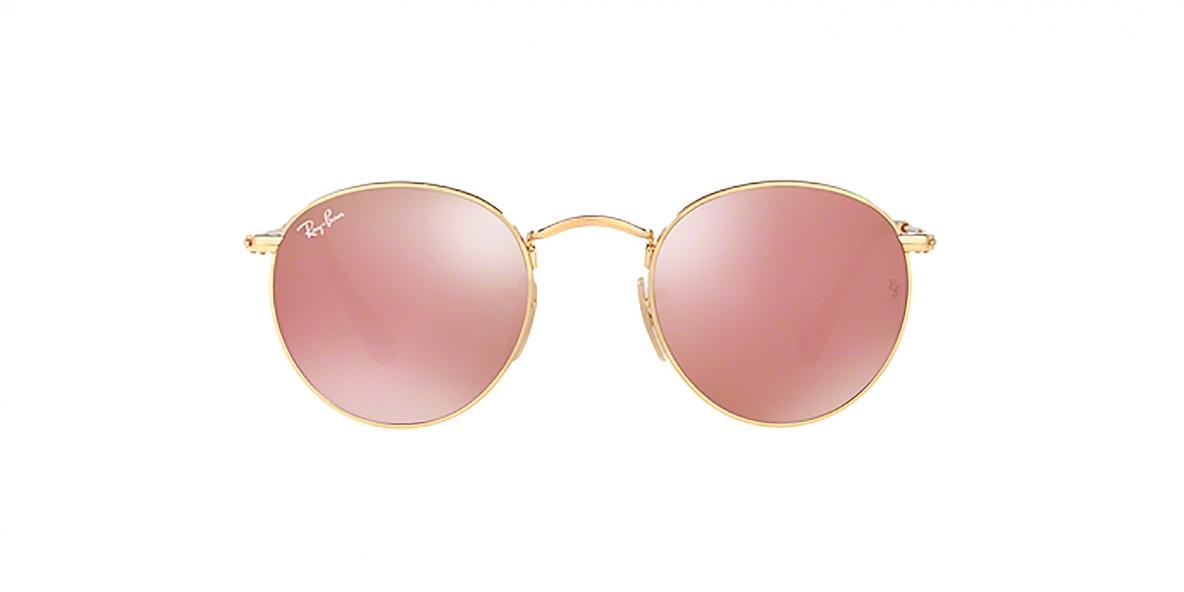RayBan 3447N 0001Z2 50 عینک آفتابی گرد ریبن مدل 3447 فلزی طلایی با عدسی آیینه ای مسی رنگ مناسب خانم ها و آقایان