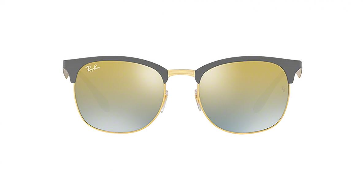 Ray-Ban Sunglass 3538S 9007A7 53 عینک آفتابی ریبن کلاب مستر فلزی مدل 3538 خاکستری طلایی عدسی آیینه ای مناسب خانم ها و آقایان