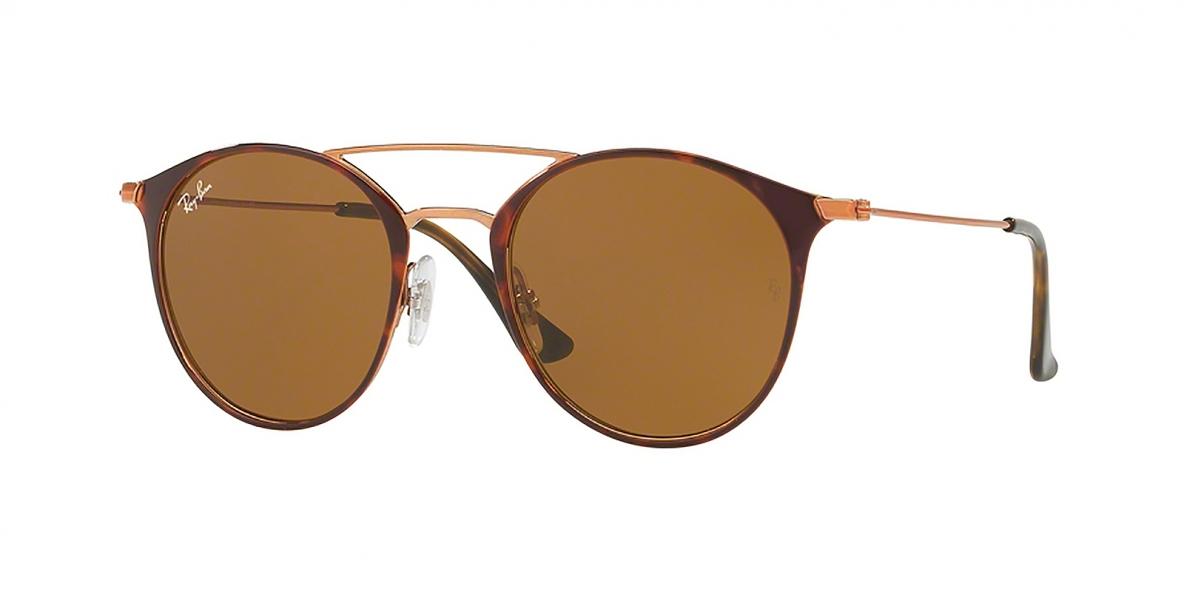 Ray-Ban Sunglass 3546S 009074 49 عینک آفتابی ریبن مدل 3546 گرد مناسب خانم ها و آقایان با عدسی قهوه ای
