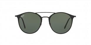 RayBan Sunglass 3546S 000186 52 عینک آفتابی ریبن گرد فلزی مدل 3546 مشکی مات عدسی سبز مناسب خانم ها و آقایان