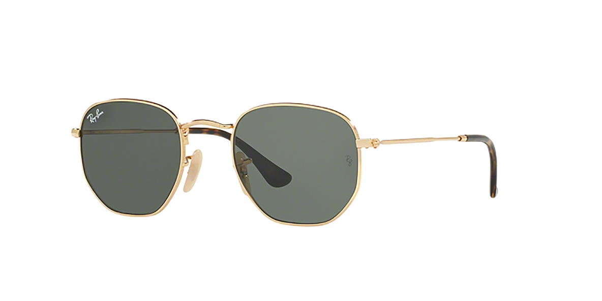 RayBan Sunglass 3548N 000001 54عینک آفتابی ریبن شش ضلعی مدل 3548 فلزی طلایی با عدسی سبز مناسب خانم ها و آقایان