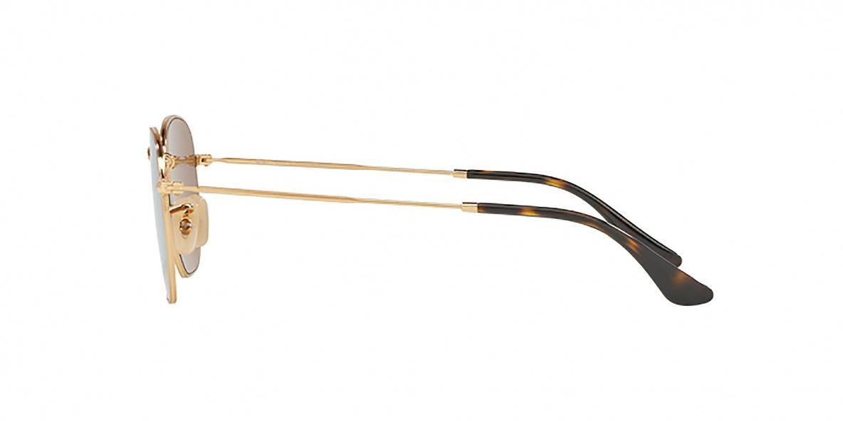 RayBan Sunglass 3548N 000193 54عینک آفتابی ریبن چندضلعی مدل 3548 مناسب خانم ها و آقایان با عدسی آیینه ای طلایی
