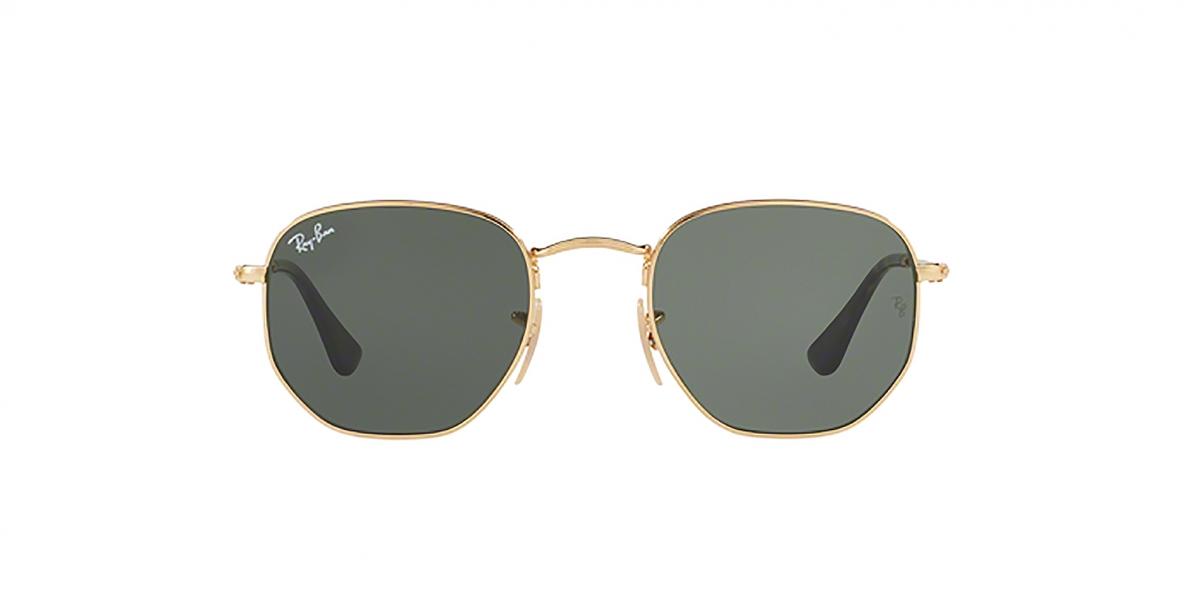 RayBan Sunglass 3548N 000001 51عینک آفتابی ریبن شش ضلعی مدل 3548 طلایی با عدسی های سبز مناسب خانم ها و آقایان
