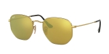 RayBan Sunglass 3548N 000193 48عینک آفتابی ریبن چند ضلعی مدل 3548 با عدسی آیینه ای طلایی مناسب خانم ها و آقایان
