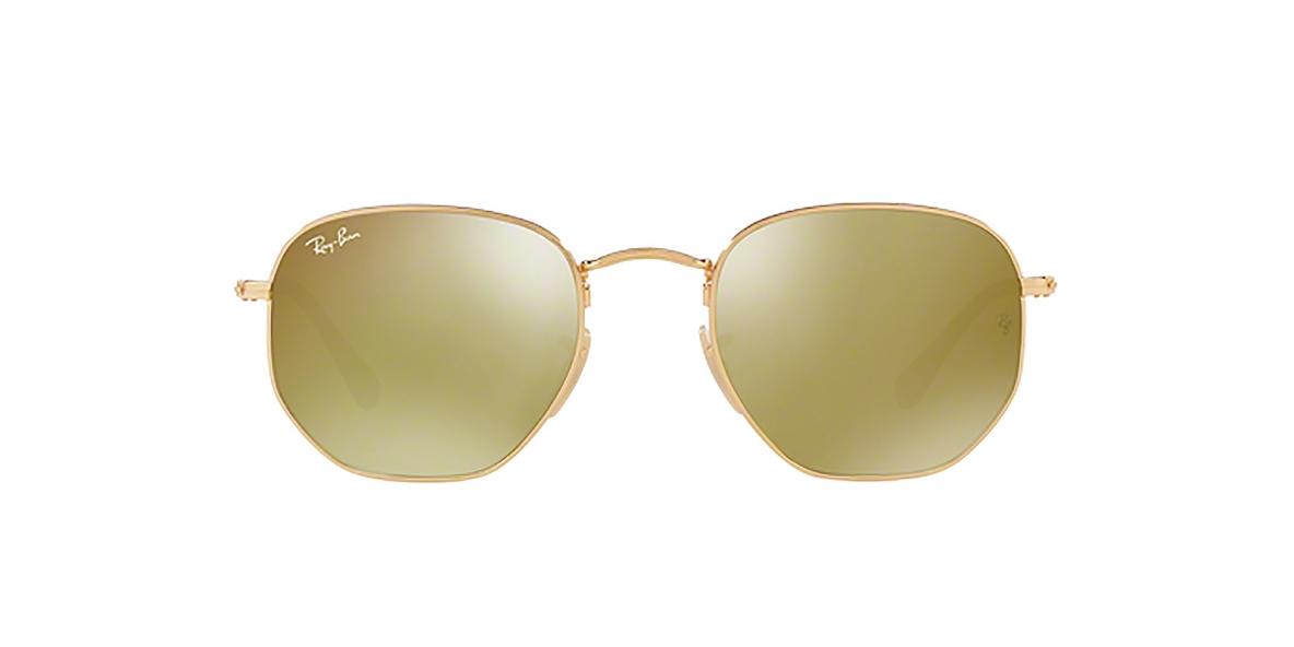 Ray-Ban Sunglass 3548N 000193 48 عینک آفتابی ریبن چند ضلعی مدل 3548 با عدسی آیینه ای طلایی مناسب خانم ها و آقایان