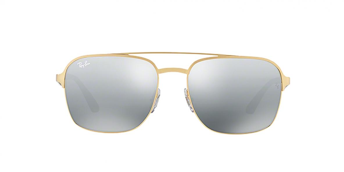 RayBan Sunglass 3570S 000188 58عینک آفتابی ریبن مربعی مدل 3570 مناسب خانم ها و آقایان با عدسی آیینه ای نقره ای