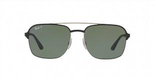 RayBan Sunglass 3570S 90049A 58عینک آفتابی ریبن مربعی مدل 3570 مناسب خانم ها و آقایان با عدسی سبز پلاریزه