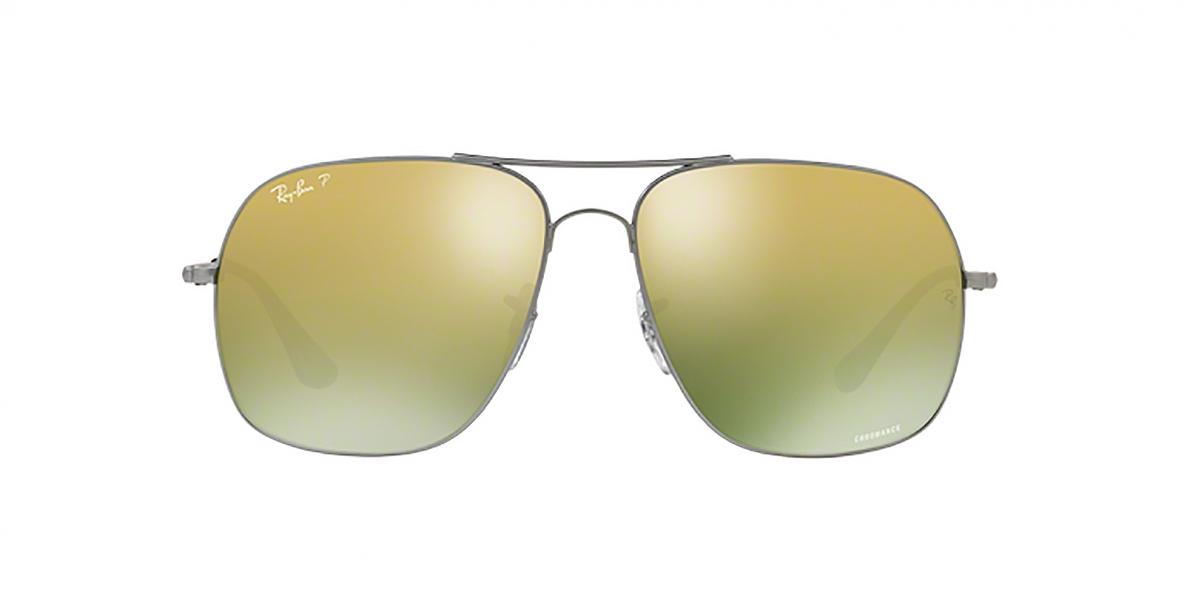 RayBan Sunglass 3587C 00296O 61عینک آفتابی ریبن مدل 3587 مناسب آقایان با عدسی سبز و آیینه ای طلایی پلاریزه