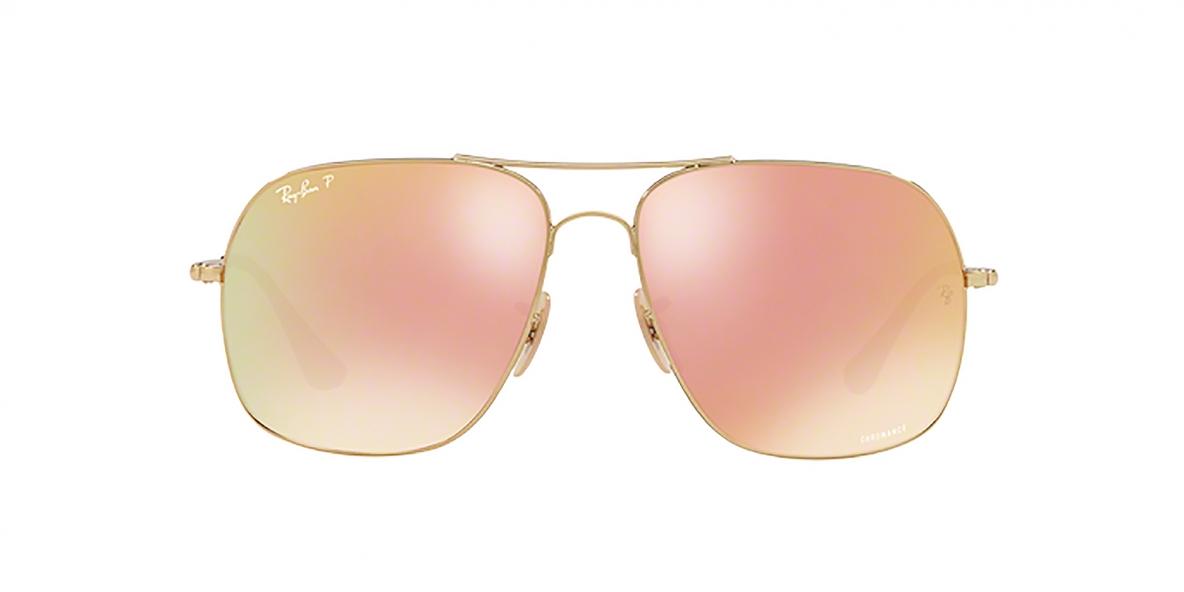 RayBan Sunglass 3587C 0001I0 61عینک آفتابی ریبن مدل 3587 مناسب آقایان پلاریزه با عدسی نارنجی آیینه ای صورتی