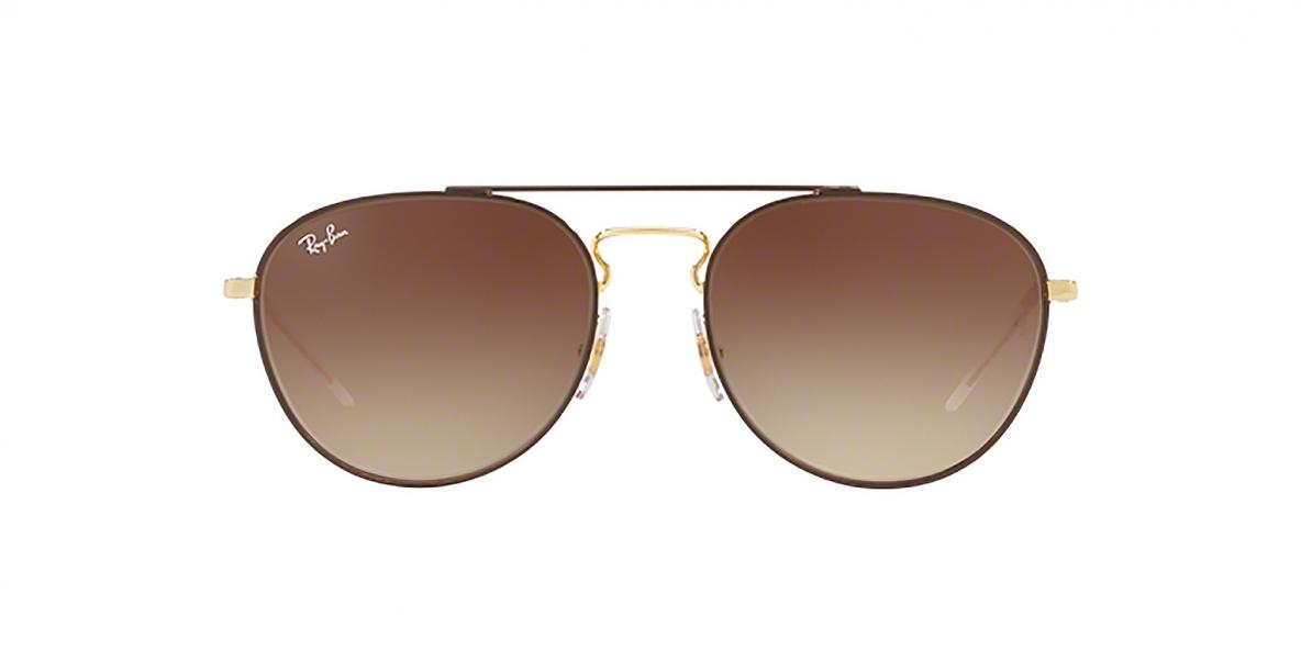 RayBan Sunglass 3589S 905513 55عینک آفتابی ریبن گرد خلبانی مناسب خانم ها با عدسی قهوه ای سایه روشن