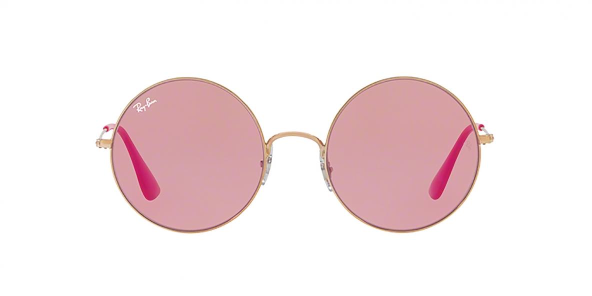Ray-Ban Sunglass 3592S 9035F6 55 عینک آفتابی گرد ریبن مدل 3592 با عدسی آیینه ای قرمز و عدسی صورتی مناسب خانم ها