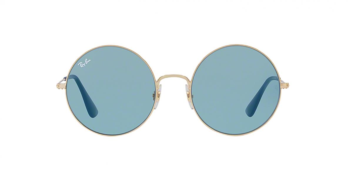 RayBan Sunglass 3592S 0001F7 55عینک آفتابی گرد ریبن مدل 3592 با عدسی آبی کم رنگ مناسب خانم ها