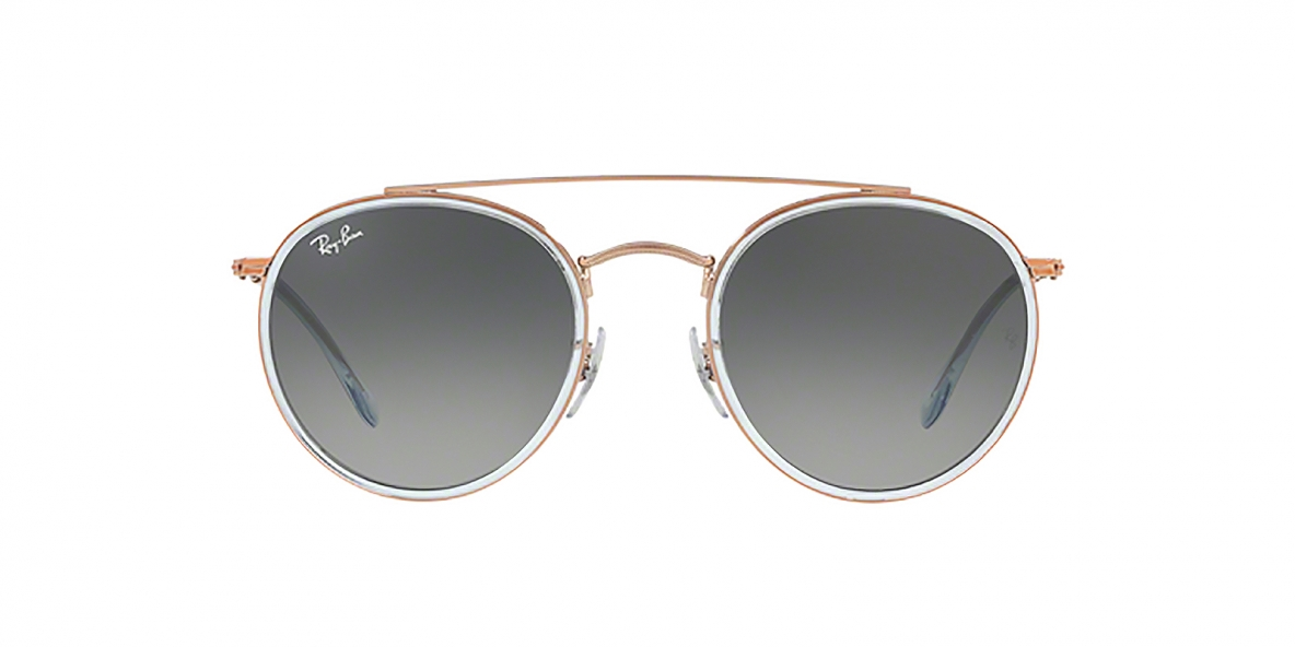 Ray-Ban Sunglass 3647N 906771 51 عینک آفتابی گرد ریبن مدل 3647 فریم فلزی با عدسی دودی مناسب خانم ها و آقایان