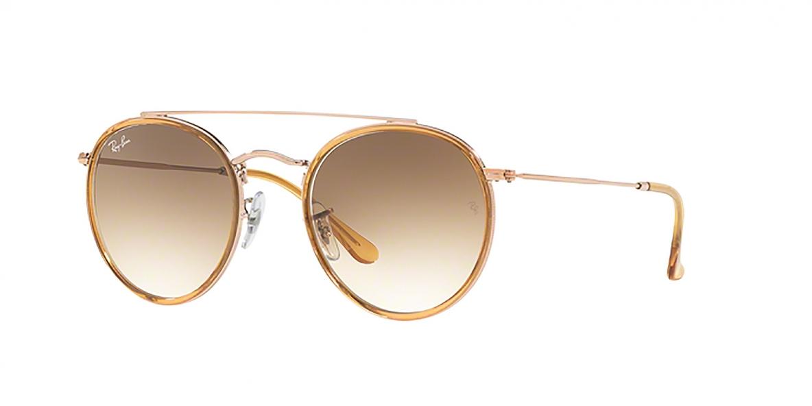 Ray-Ban Sunglass 3647N 907051 51 عینک آفتابی ریبن گرد مدل 3647 با عدسی قهوه ای سایه روشن مناسب خانم ها و آقایان