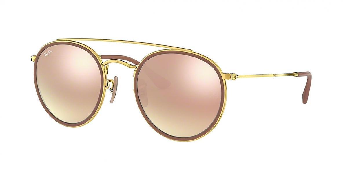 RayBan Sunglass 3647N 00017O 51 عینک آفتابی گرد ریبن مدل 3647 عدسی آیینه ای صورتی دوپل مناسب خانم ها و آقایان