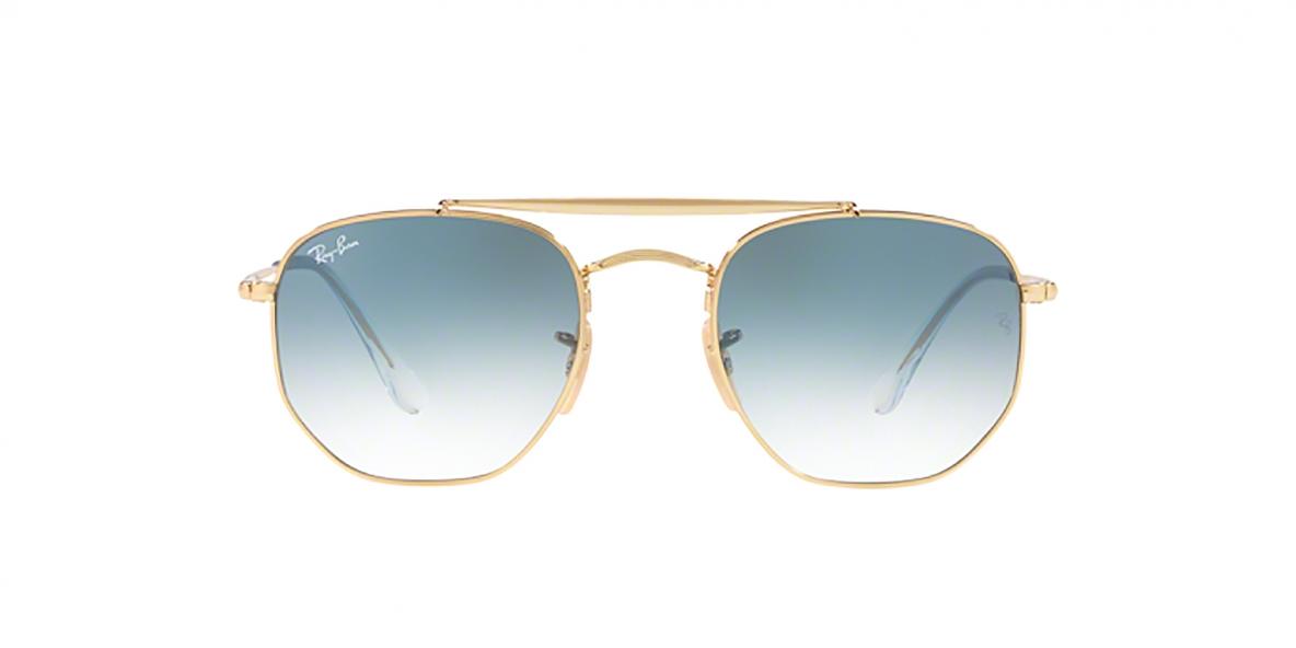 Ray-Ban Sunglass 3648S 00013F 54 عینک آفتابی ریبن مدل 3648 چندضلعی مناسب خانم ها و آقایان با عدسی آبی و فریم طلایی