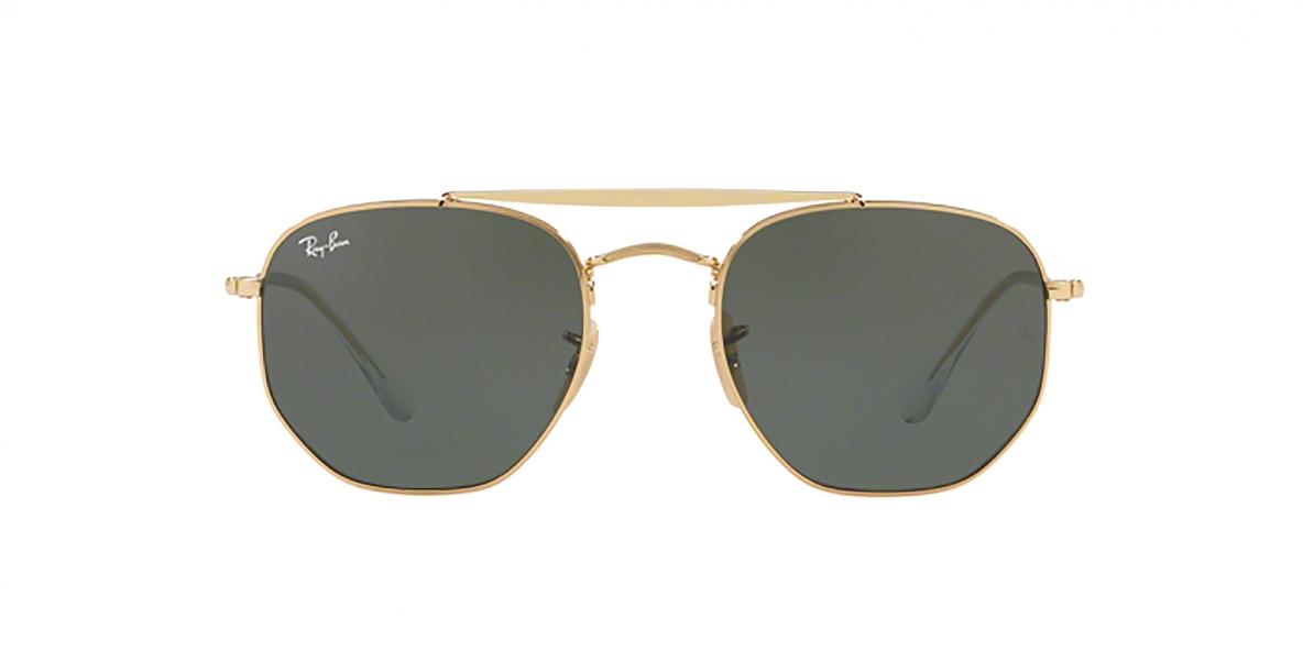 RayBan Sunglass 3648S 000001 54عینک آفتابی ریبن چندضلعی مدل 3648 طلایی با عدسی سبز کلاسیک مناسب خانم ها و آقایان