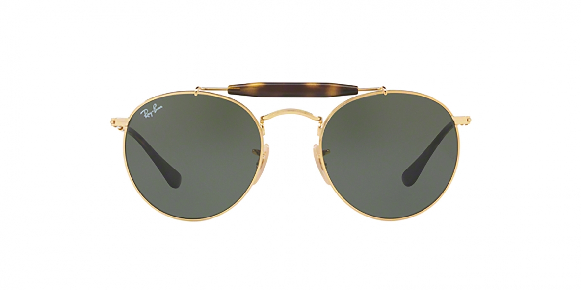 RayBan 3747S 000001 50عینک آفتابی ریبن گرد دوپل مدل 3747 مناسب خانم ها و آقایان با عدسی سبز کلاسیک