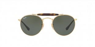 Ray-Ban 3747S 000001 50 عینک آفتابی ریبن گرد دوپل مدل 3747 مناسب خانم ها و آقایان با عدسی سبز کلاسیک