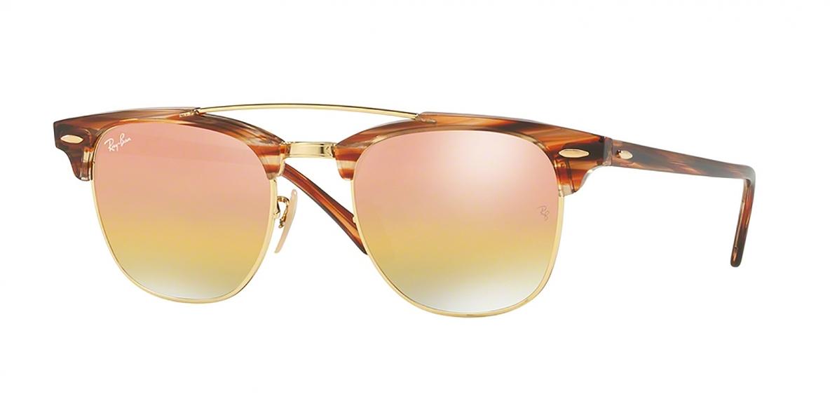 RayBan Sunglass 3816S 1237I1 51عینک آفتابی ریبن مدل 3816 کلاب مستر با عدسی آیینه ای طلایی مناسب خانم ها و آقایان