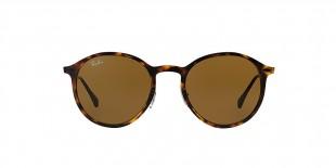 Ray-Ban 4224S 089473 49 عینک آفتابی ریبن گرد مدل 4224 قهوه ای هاوانا مناسب خانم ها و آقایان