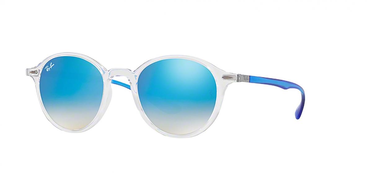 RayBan 4237S 62894O 50عینک آفتابی ریبن گرد مدل 4237 با عدسی آبی آیینه ای مناسب خانم ها و آقایان