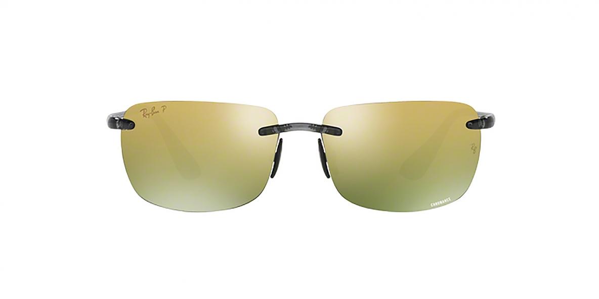 RayBan 4255S 06216O 60عینک آفتابی مستطیلی بدون فریم ریبن مدل 4255 مناسب آقایان عدسی پلاریزه آیینه ای طلایی