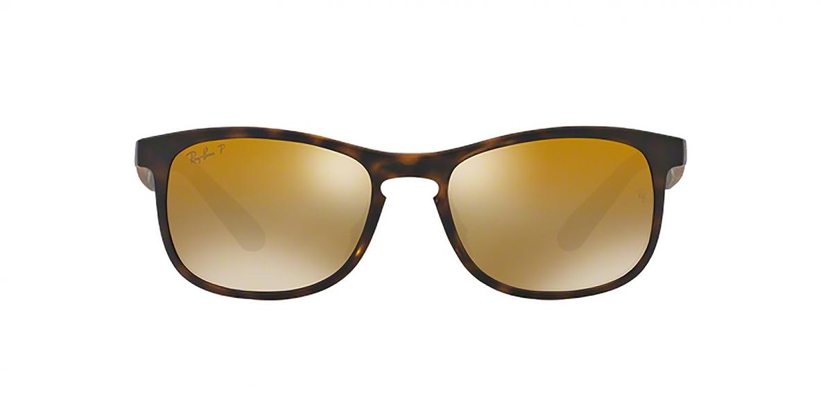 RayBan 4263S 0894A3 55عینک آفتابی ریبن مدل 4263 مربعی قهوه ای هاوانا با عدسی آیینه ای طلایی پلاریزه مناسب آقایان