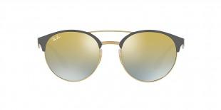 RayBan Sunglass 3545S 9007A7 51عینک آفتابی ریبن گرد فلزی مدل 3545 طلایی خاکستری مات عدسی طلایی نقره ای آیینه ای آقایان خانم ها
